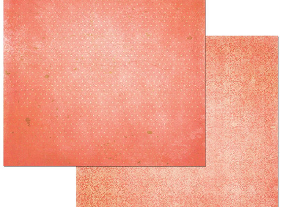 Coral Double Dots 12X12 2-Sided Vintage Cardstock Paper BoBunny