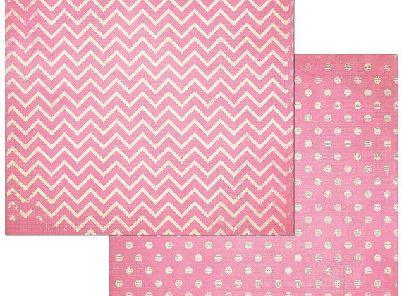 Passion Fruit Double Dots 12X12 2-Sided Chevron Cardstock Paper BoBunny