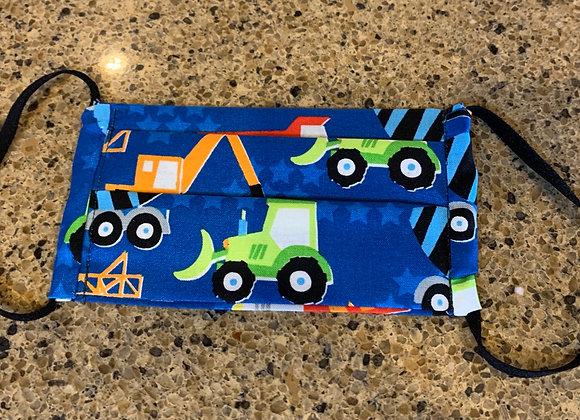 Blue Construction (Kids) Trucks Cotton Mask