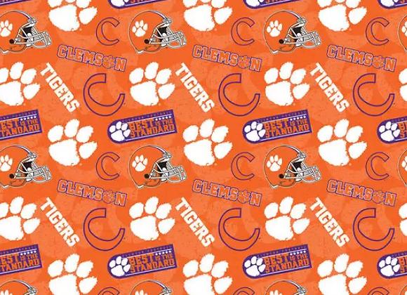 Clemson University Tigers Tone on Tone Cotton Fabric Mask