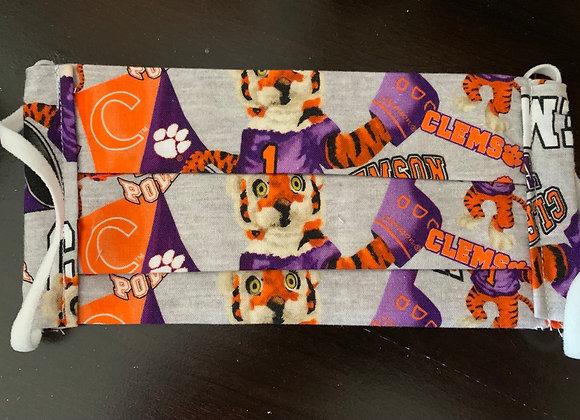Clemson University Tigers Collegiate Mascot Cotton Fabric Mask