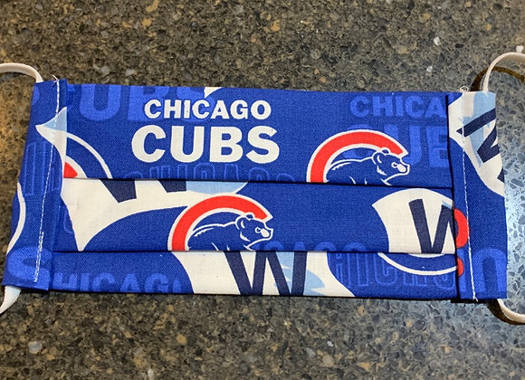 Chicago Cubs Cotton Fabric White Flag W Mask