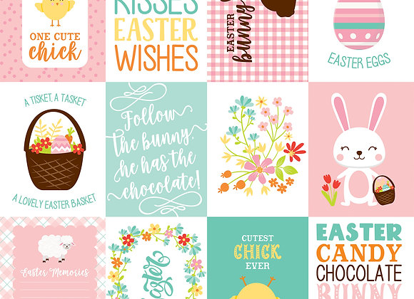 3X4 Journaling Cards 12x12 Scrapbook Paper, Easter Wishes, Echo Park