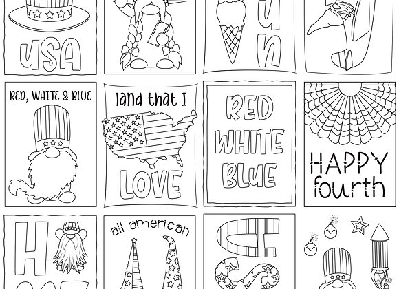 Color Me 12x12 2-Sided Patterned Paper, Gnome for July 4th