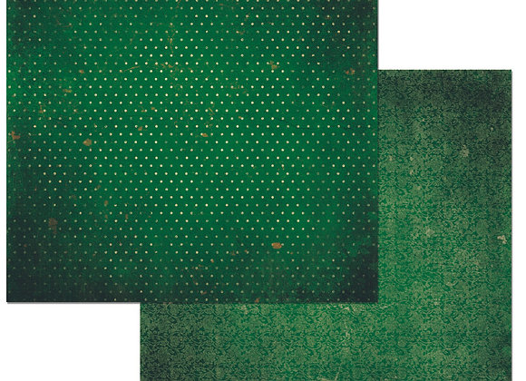 Evergreen Double Dots 12X12 2-Sided Vintage Cardstock Paper BoBunny