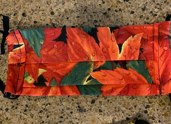 Red Fall Leaves Cotton Mask