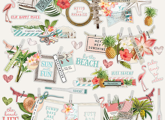 Simple Vintage Coastal, 12x12 Banner Sticker Sheet, NEW Simple Stories May 2020