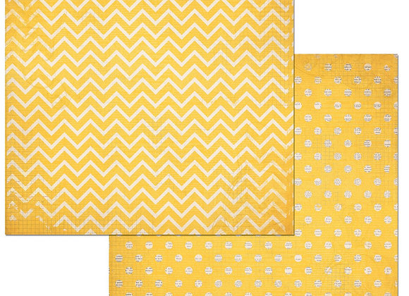 Buttercup Double Dots 12X12 2-Sided Chevron Cardstock Paper BoBunny