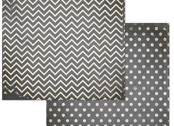 Charcoal Double Dots 12X12 2-Sided Chevron Cardstock Paper BoBunny