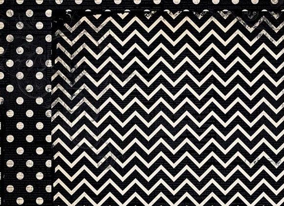 Licorice Double Dots 12X12 2-Sided Chevron Cardstock Paper BoBunny