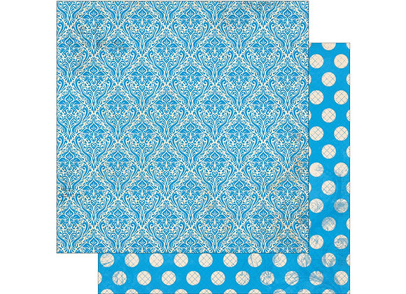 Brilliant Blue Double Dots 12X12 2-Sided Vintage Cardstock Paper BoBunny
