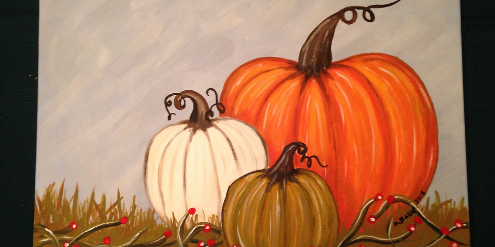 Autumn Pumpkins Painting October 21, 2018 Sunday Funday Event!