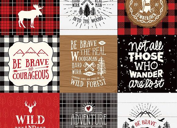 4X4 Journaling Cards, 12x12 Patterned Paper, Little Lumberjack