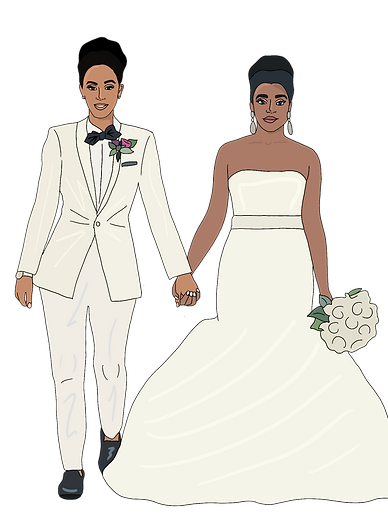 Illustration of 2 brides, one in a white suit and one in a white strapless mermaid style dress.