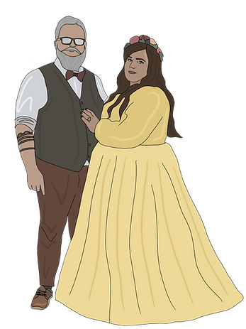 [Illustration description: Groom & Bride. The groom on the left has grey hair, a full beard & moustache and is wearing glasses. He is in a waistcoat and trousers with shirt sleeves rolled up and you can see he has tattoos . The bride on the right is wearing her long brown hair down with a flower crown. She is wearing a yellow high neck, full length flowing dress. They aren't smiling but look relaxed ]