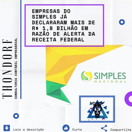 Empresas do Simples já declararam mais de R$ 1,8 bilhão em razão de alerta da Receita Federal