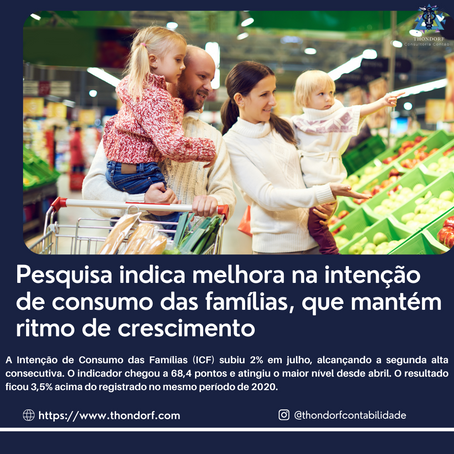Pesquisa indica melhora na intenção de consumo das famílias, que mantém ritmo de crescimento