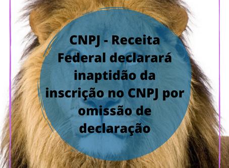 CNPJ - Receita Federal declarará inaptidão da inscrição no CNPJ por omissão de declaração