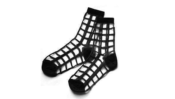 Black Sheer Checker Socks