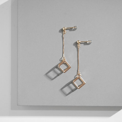 18K Rose Gold Cubic Earrings