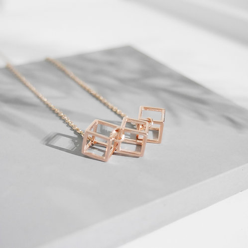 18K Rose Gold Cubic Necklace