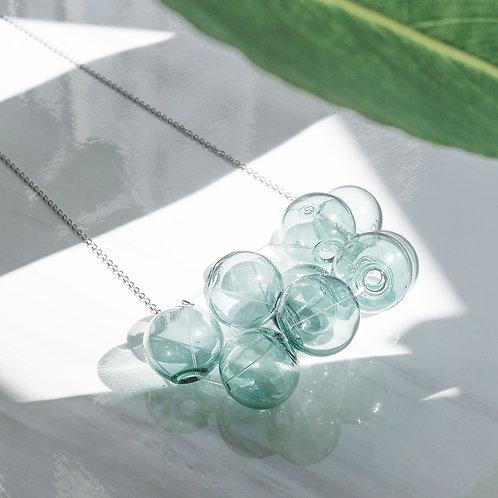 925 Sliver Transparent Green Bubble Bubbles Necklace
