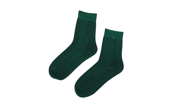 Green Fine Glitter Ankle Socks
