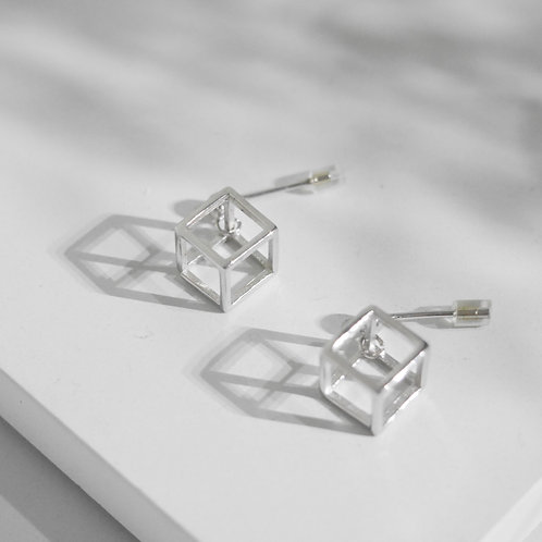 925 Sterling Sliver Cubic Post Back Earrings