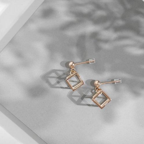 18K Rose Gold Cubic Earrings