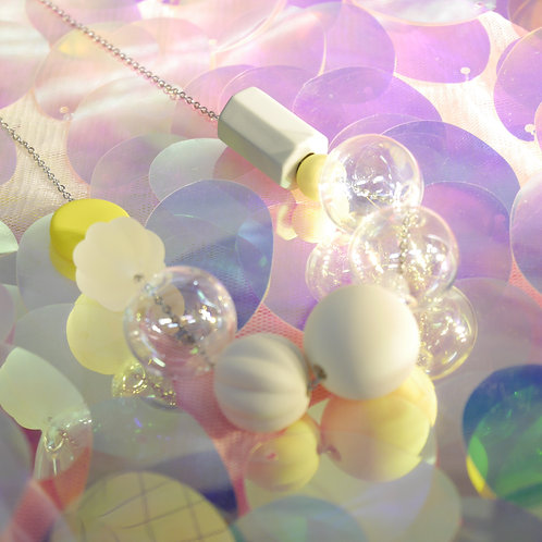 Marshmallow Glass Necklace - PING PONG 012