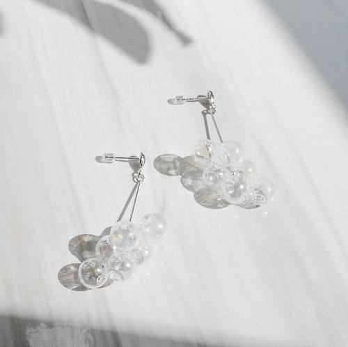 925 Sliver Hologram Bubble Bubbles Earrings