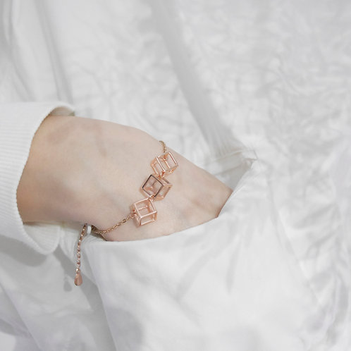 18K Rose Gold Cubic Bracelet
