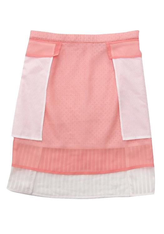 Salmon Pink Sheer Pleated 3-ways Skirt