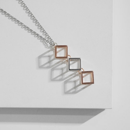 Two-tone Cubic Necklace