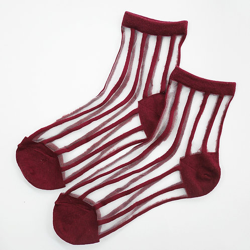 Sheer Cherry Striped Socks