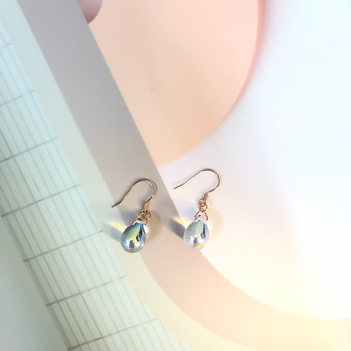 18K Rose Gold Hologram Glaze Water Dropped Earrings