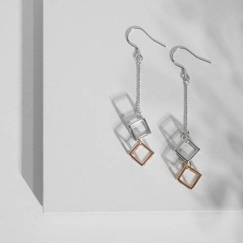 Two-tone Cubic Drop Earrings