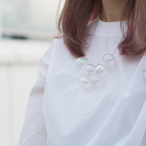 18K Rose Gold Hologram Bubble Bubbles Necklace