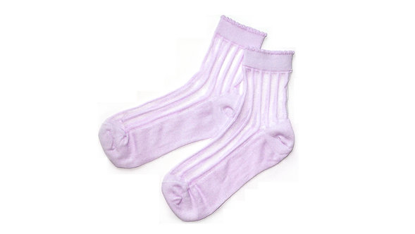 Pink Sheer Scalloped Striped Socks