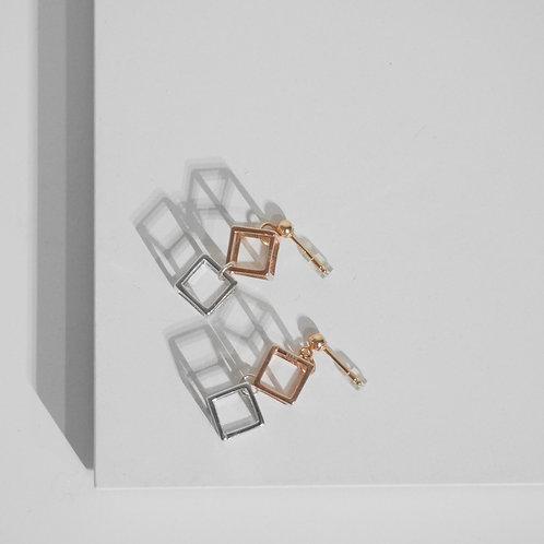Two-tone Cubic Post Back Earrings