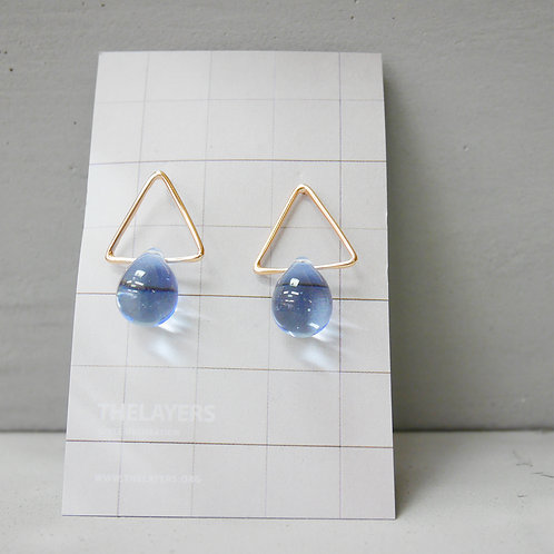 Blue Sky Glaze 18K Rose Gold Triangle Earrings