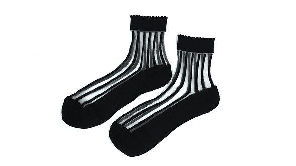 Black Sheer Scalloped Striped Socks