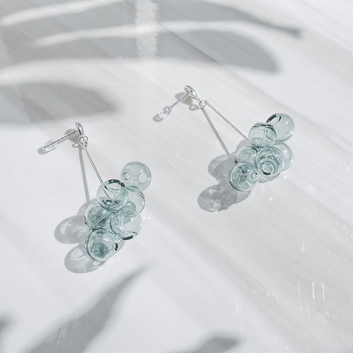 925 Sliver Transparent Green Bubble Bubbles Earrings