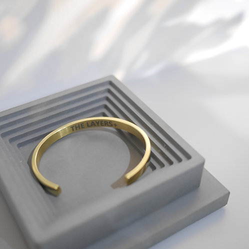 Personalized Engraving Minimal Bangle in Gold