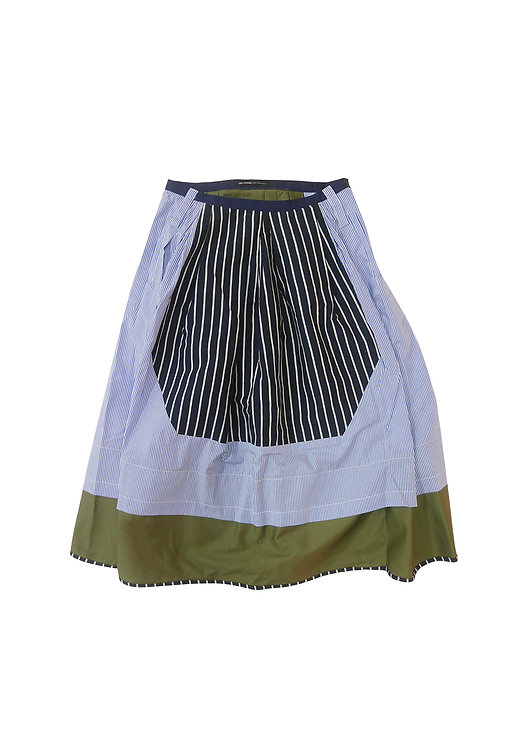Patched Multi Stripe Prom Skirt
