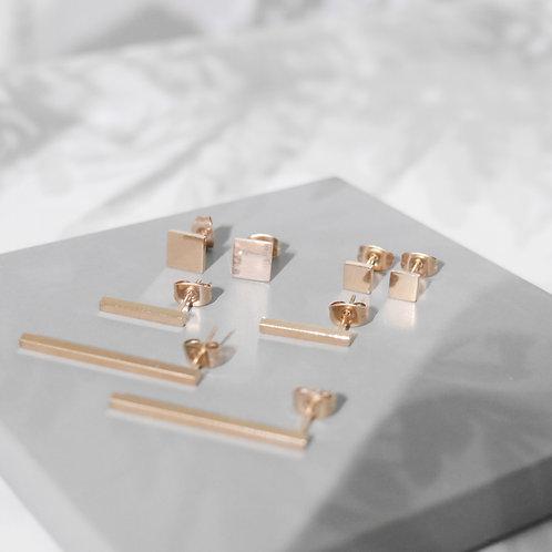 18K Rose Gold Minimal Post Back Earrings