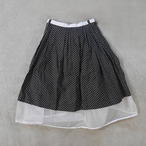 SUMMER SALE! Polka Dots Ribbon Patched Sheer Skirt