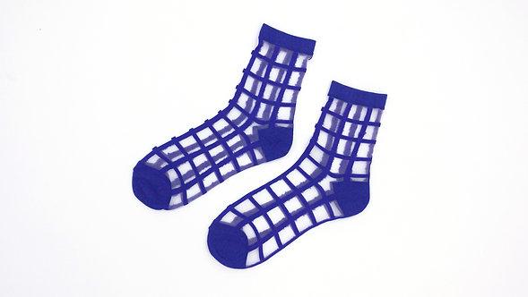 Blue Sheer Checkered Socks
