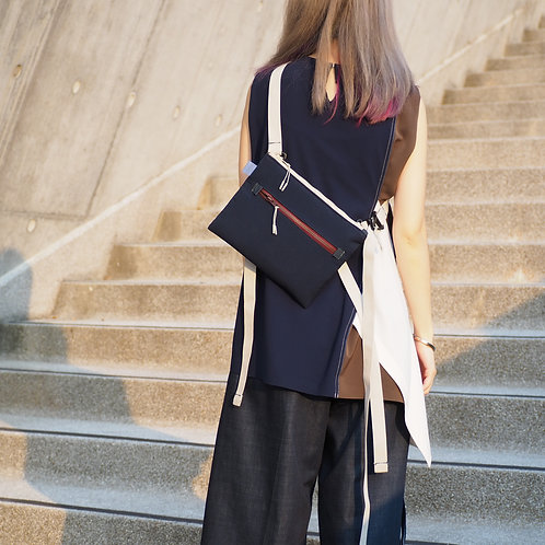 TWO-WAY NAVY BLUE SHOULDER BAG