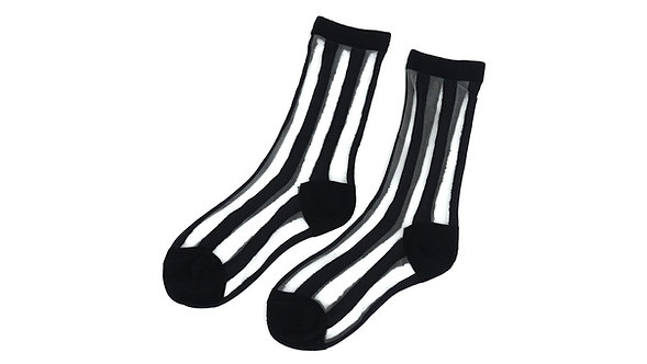Black Sheer Striped Socks
